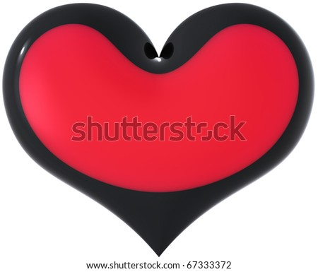 Chameleon heart shape experimental colored red with black border. Be false in Love. Divorce concept. Valentine's day decoration. This is a detailed 3D render (Hi-res). Isolated on white background - stock photo