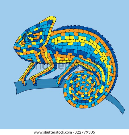Chameleon sitting on a branch. abstract illustrations multicolored mosaic chameleon, lizards, reptiles with small scales. illustrations drawn by hand with pencil, pen. logo. Icon. - stock photo