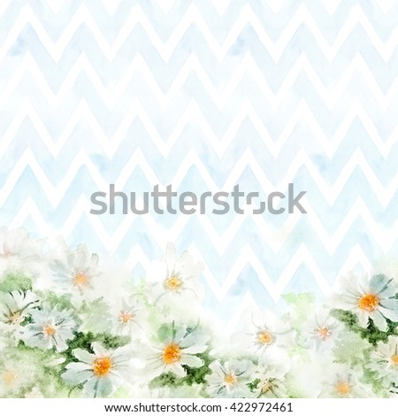 Chamomile bouquet on blue chevron background. Hand-painted watercolor illustration for greeting cards - stock photo