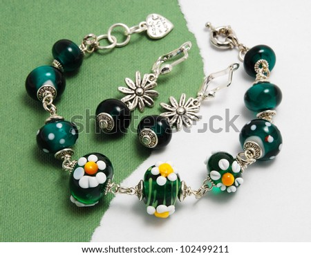 chamomile Jewellery set made of murano glass - stock photo