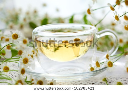 Chamomile tea in glass cup with flowers - stock photo