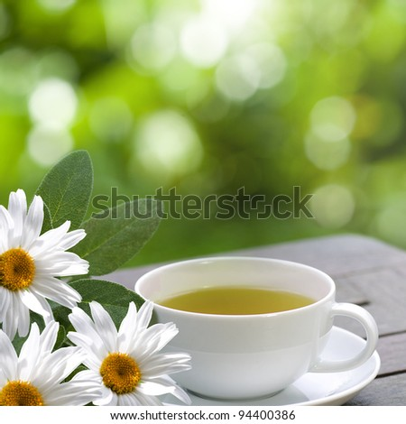 Chamomile tea with white flowers served on the terrace - stock photo