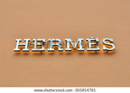 CHAMONIX, FRANCE - AUGUST 9: Logo of Hermes store in Megeve town on August 9, 2015. Hermes is a world famous luxury fashion couture. - stock photo