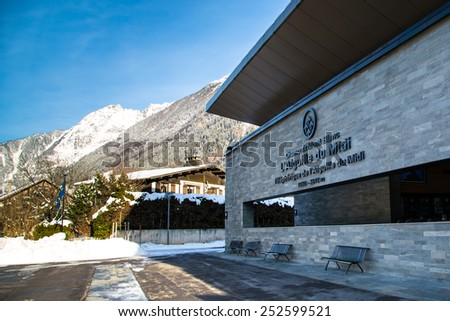 CHAMONIX, FRANCE - JANUARY, 2015: Aiguille du Midi cable car station in winter The cable car is the highest in Europe, and offers close views of the Mont Blanc summit. January 28, 2015 in Chamonix. - stock photo