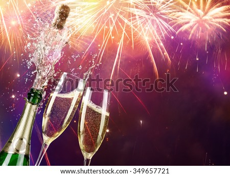 Champagne And Bottle With Fireworks  - stock photo