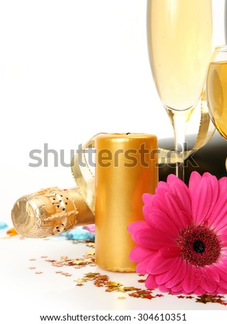 Champagne and candles - stock photo