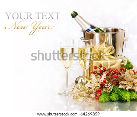 Champagne and Gifts.New Year Celebration.Isolated on white - stock photo