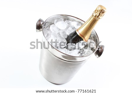Champagne and ice bucket - stock photo