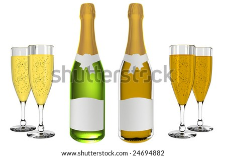 Champagne and wine bottles with blank labels isolated on white background