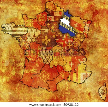 Champagne-Ardenne on old map of france with flags of administrative divisions
