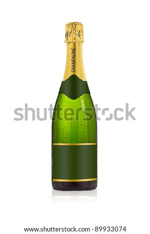Champagne bottle against a white background