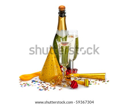 Champagne - bottle and glass - stock photo