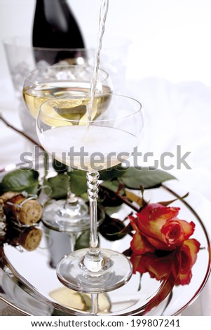 Champagne, bottle and glasses