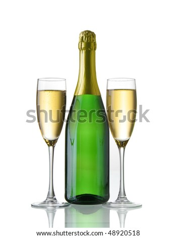 champagne bottle and glasses - stock photo