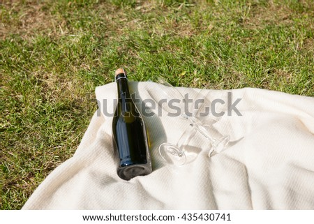 Champagne bottle and glasses on white blanket - stock photo