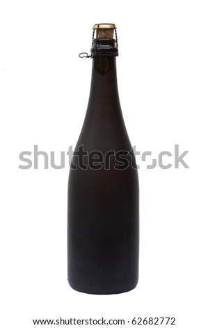 Champagne bottle as white isolate background - stock photo