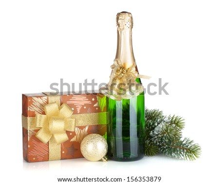 Champagne bottle, christmas gift box, decor and fir tree. Isolated on white background - stock photo