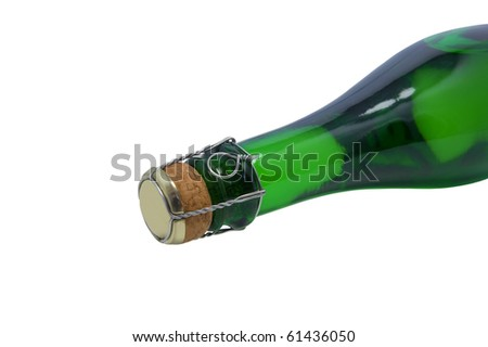 Champagne bottle close-up. Isolated on white background - stock photo