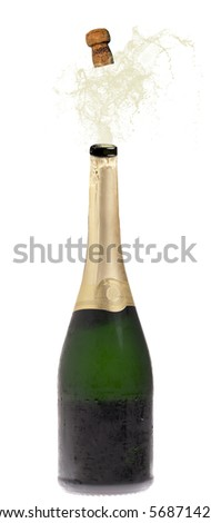 Champagne bottle explosion isolated on white - stock photo