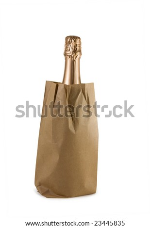 Champagne bottle in a paper bag - stock photo
