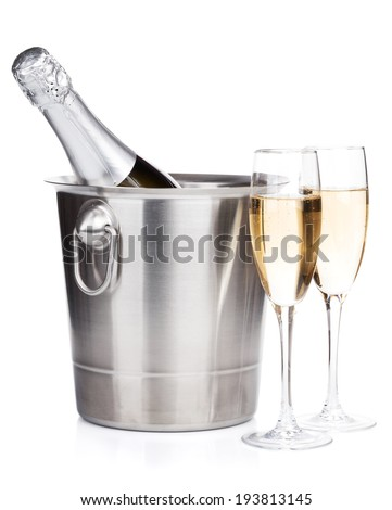 Champagne bottle in bucket and two glasses. Isolated on white background - stock photo