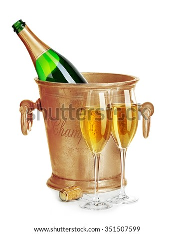 Champagne bottle in golden ice bucket with glasses of champagne close-up isolated on a white background. Festive still life.