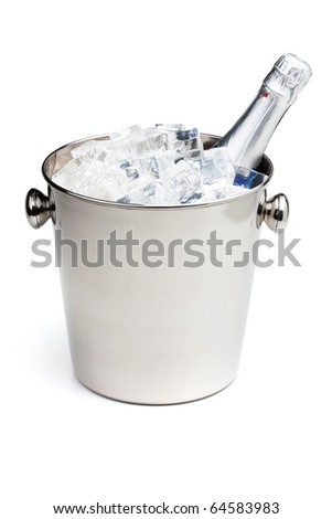 Champagne bottle in ice bucket. Isolated on white - stock photo