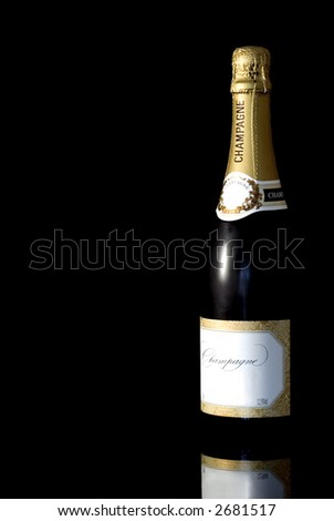 Champagne bottle isoalted against a black background with reflection - stock photo