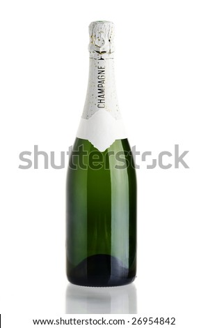 Champagne bottle over white with reflection - stock photo