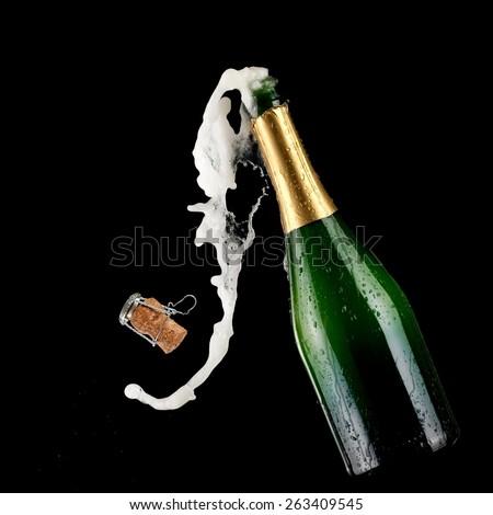 Champagne bottle pop  - stock photo