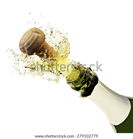 Champagne bottle popping on a white background - stock photo