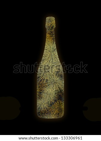 champagne bottle with a champagne color firework inside on a black background