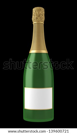 champagne bottle with blank label isolated on black background