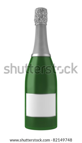 champagne bottle with blank label isolated on white background