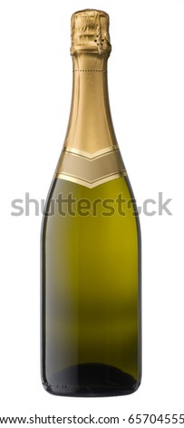 Champagne bottle with clipping path - stock photo