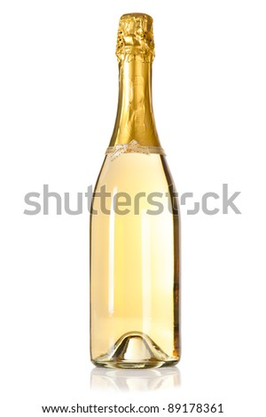 Champagne bottle with decoration bow on white background - stock photo