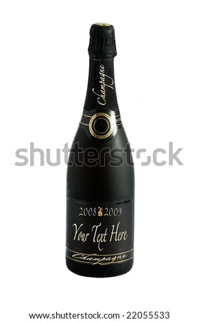 Champagne bottle with editable text - stock photo