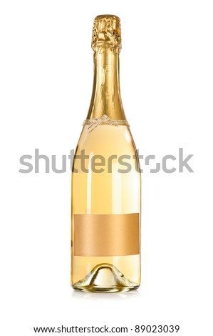 Champagne bottle with empty label isolated on the white background - stock photo