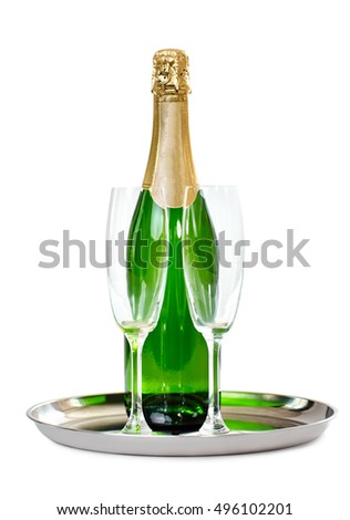 Champagne bottle with glasses on the tray isolated on white background. Celebration concept