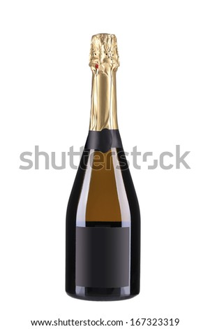 Champagne bottle with golden top.  Isolated on white background - stock photo