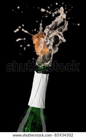 Champagne bottle with shooting cork, on black background - stock photo