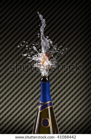 champagne bottle with shooting cork on CARBON  background - stock photo