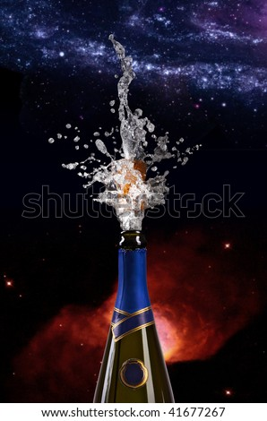 champagne bottle with shooting cork on space background - stock photo