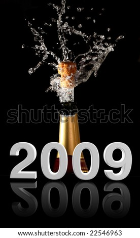 champagne bottle with shotting cork background 2009 new years - stock photo