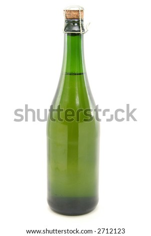 champagne bottle with white background