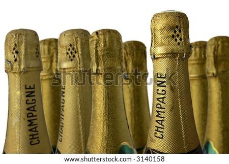CHAMPAGNE BOTTLES against a white ground; differential focus