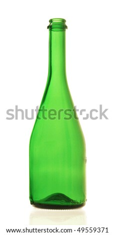 Champagne bottles and glasses on white background