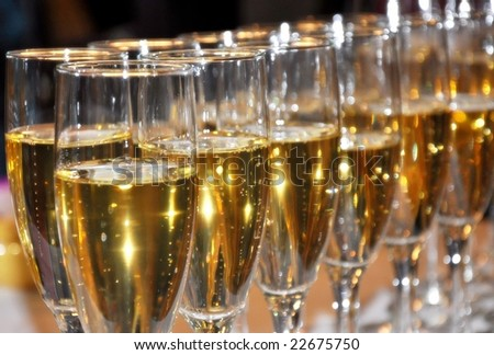 Champagne celebration on New Years - stock photo