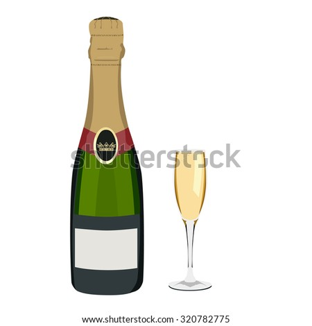 Champagne, champagne glass,  champagne bottle isolated - stock photo