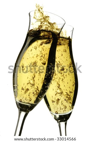Champagne cheers with bubbles on a white background - stock photo